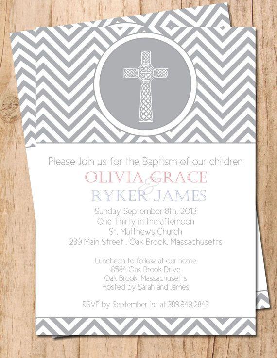 Modern Chevron Cross Twins or mutliple Baptism Christening - sample baptismal invitation for twins