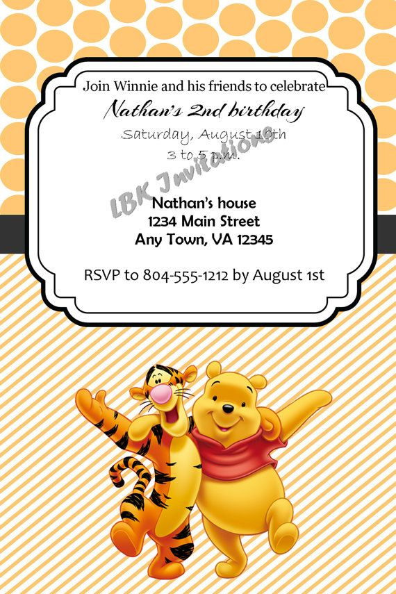 Custom Winnie The Pooh And Tigger Birthday Party Invitation On Etsy 12 00 Winnie The Pooh Birthday 1st Birthday Invitations Birthday Invitations