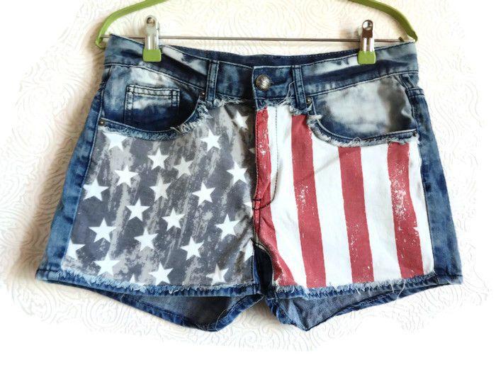 566e8e7339 FISHBONE Distressed Denim Shorts USA Flag Patriotic Shorts Faded Blue Denim  Shorts Fishbone Clothing Festival Clothing Women's Shorts by  Vintageby2sisters ...