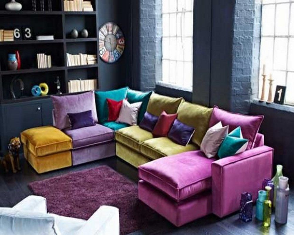 Best Cool Multi Colored Sectional Sofa With Colorful Pillows 400 x 300