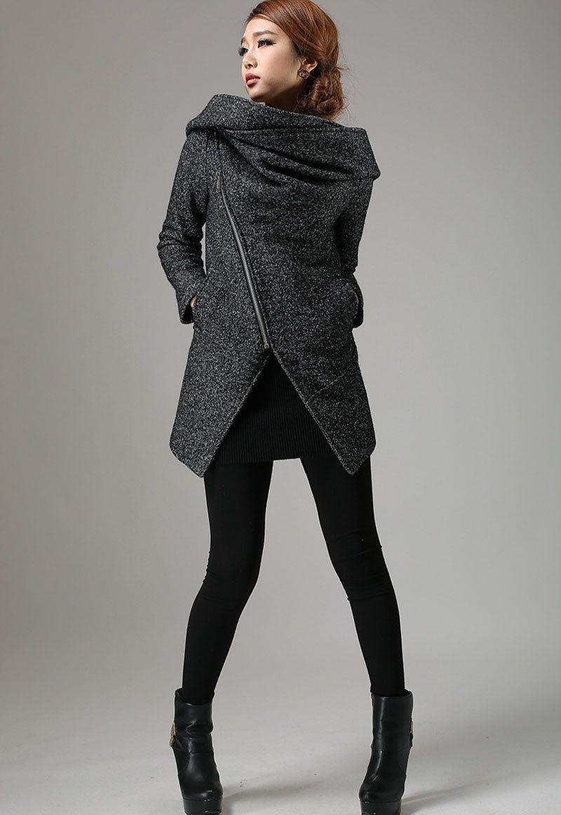 Short Winter Biker Jacket - Charcoal Black Modern Edgy Streetwear ...