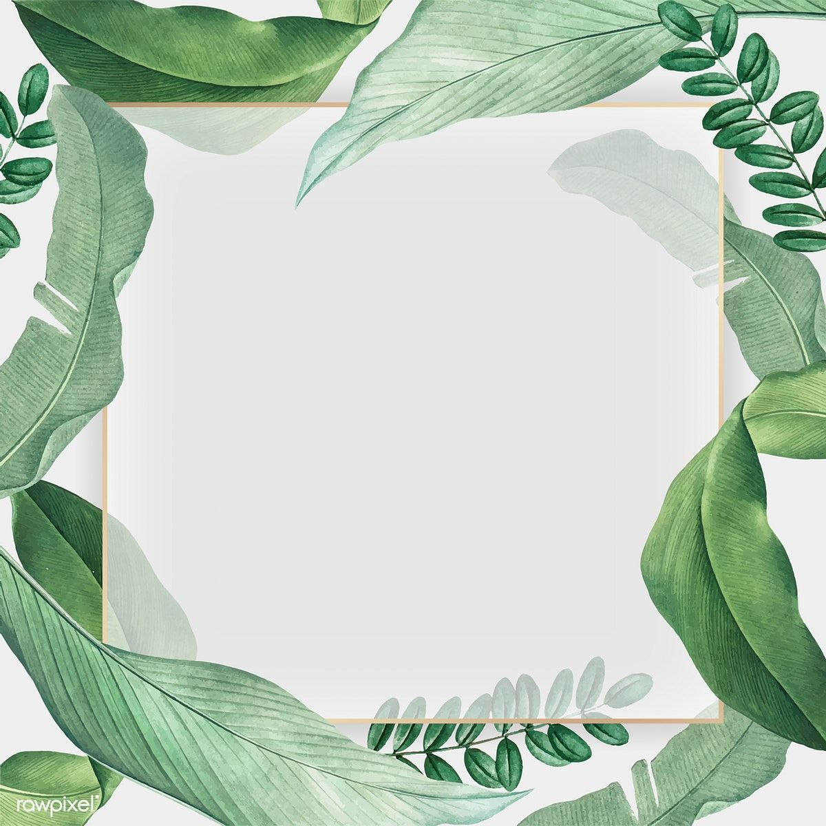 Download Premium Vector Of Gold Frame On A Tropical Leaves Background Leaf Background Tropical Leaves Tropical