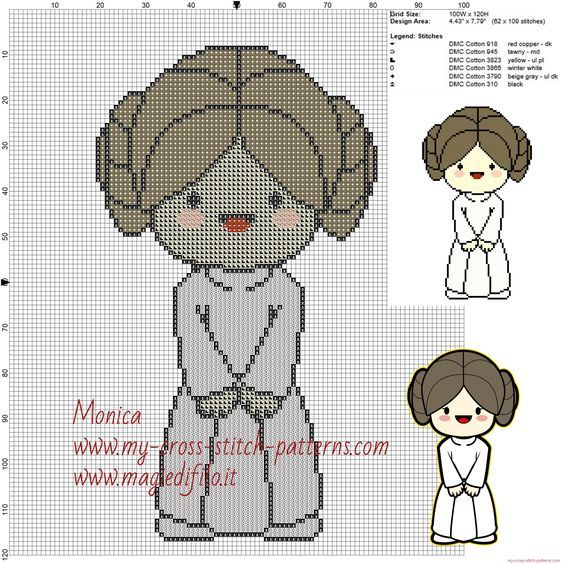 Princess Leia (Star Wars) cross stitch pattern
