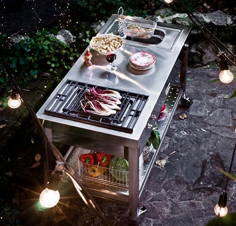 Alpes Inox T/130 stainless steel countertop with grill and deep ...