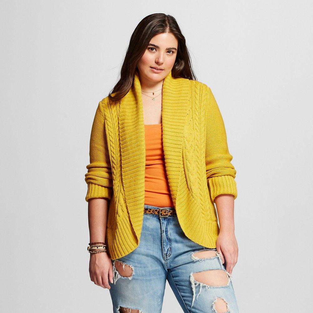 Women's Plus Size Cable Open Cardigan Yellow 3x - Mossimo Supply ...
