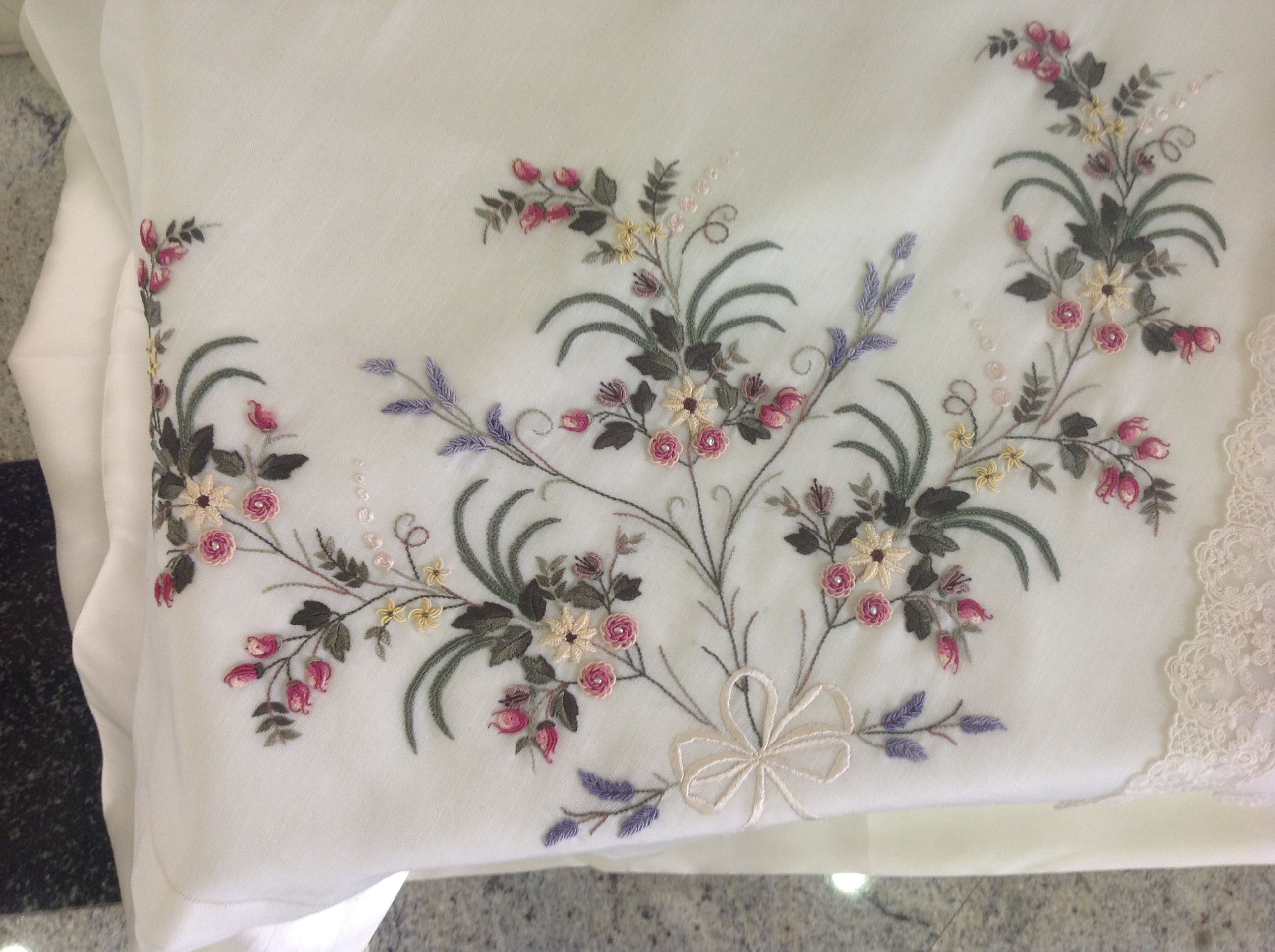 Ribbon embroidery bedspread designs - Brazilian Embroidery Project By Beyza Erg Ney From Istanbul Turkey
