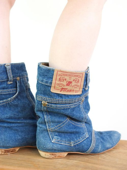 08d06371fbf66 Cowboy boots made from jeans! GOD I WANT THESE BUT I CANNOT FIND THEM