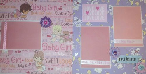 Precious moments new baby girl premade scrapbook pages layout stickers free ship ebay