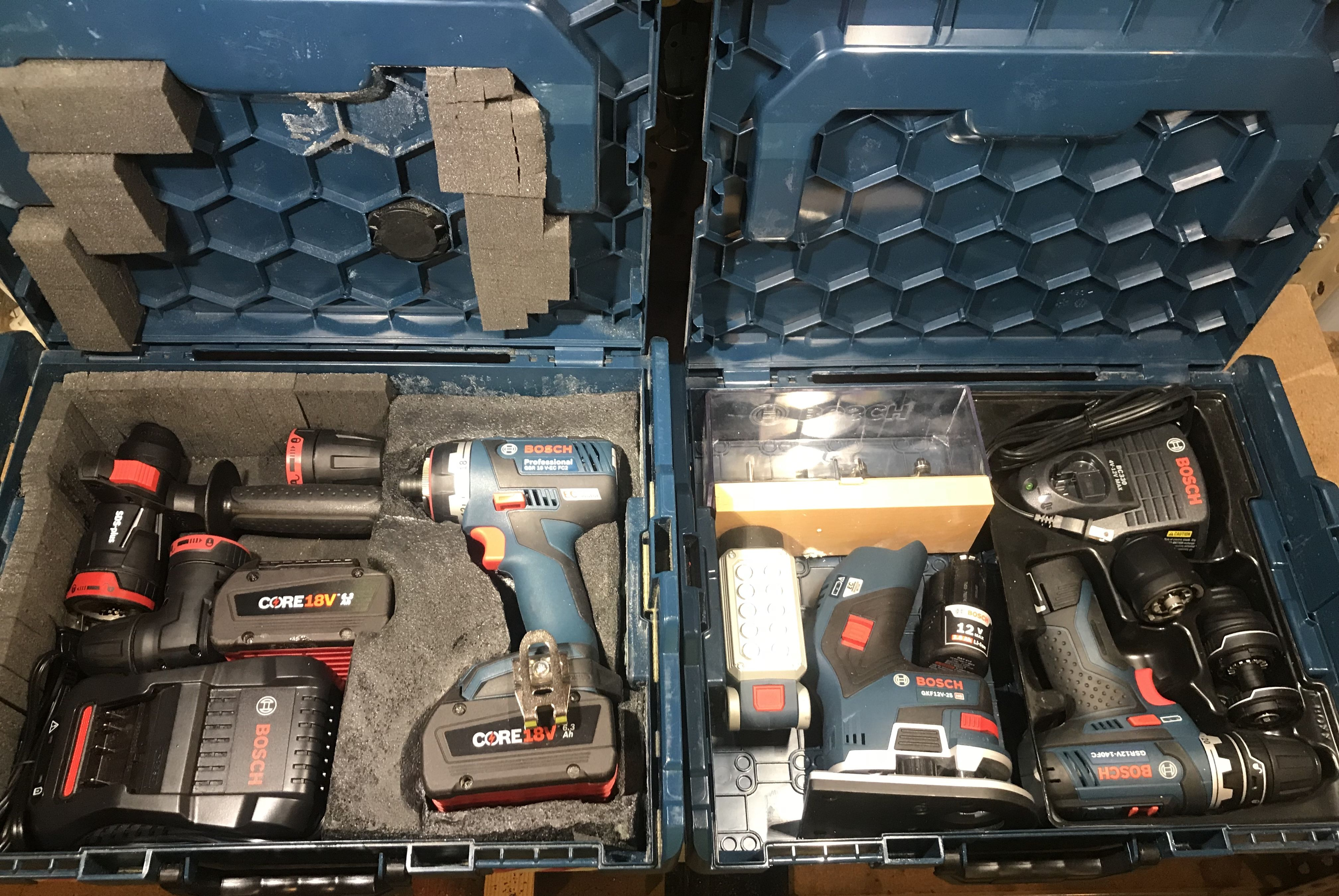 Bosch Professional G Series L Boxx 1 Gsr12v 140fc Gkf12v 25 Fl12 4pc Router Bit Set Bc330 3x 2 0ah 12v Bosch Professional Diy Und Selbermachen Selbermachen