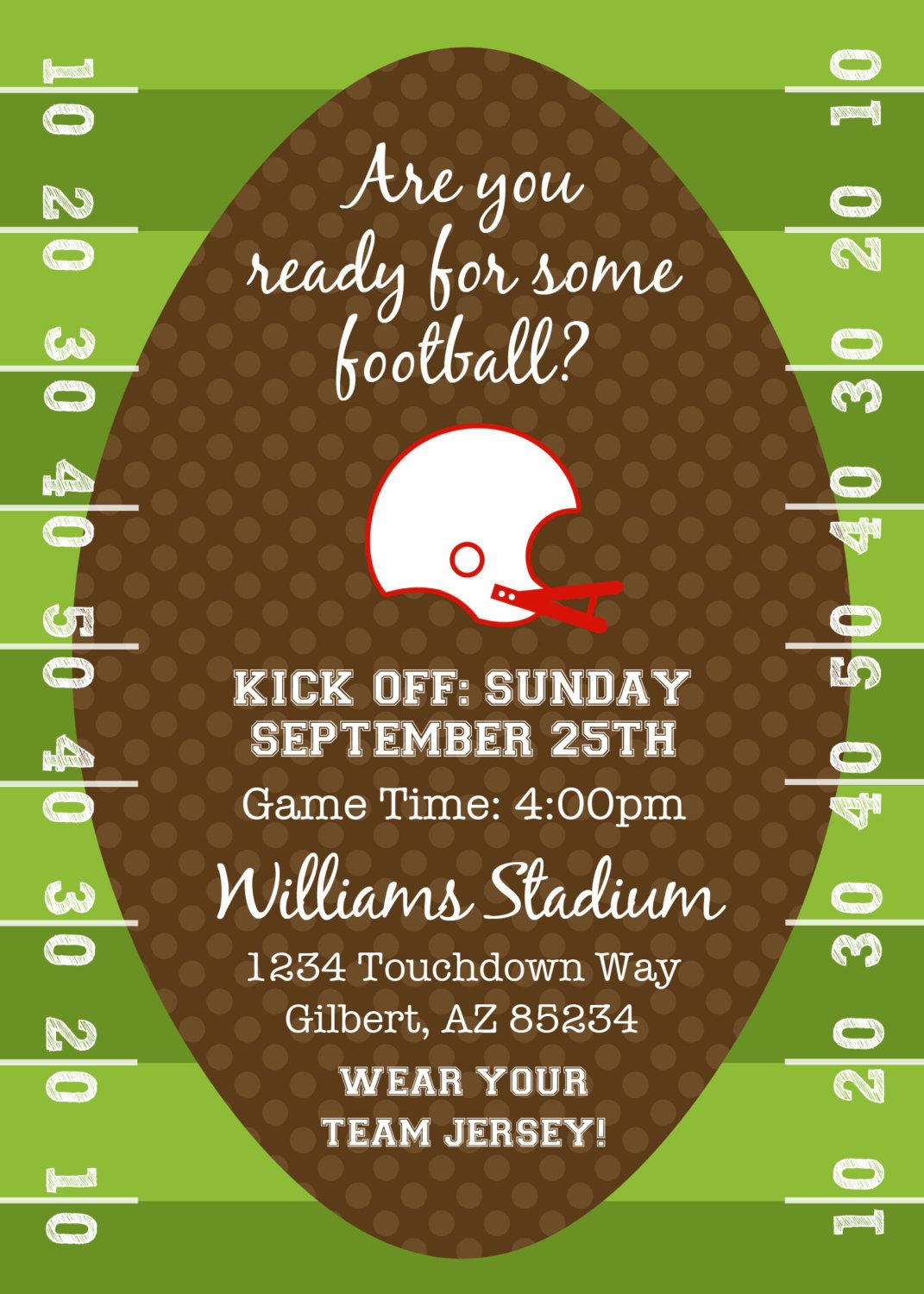football super bowl kickoff party printable invitation by fresh chick designs via football