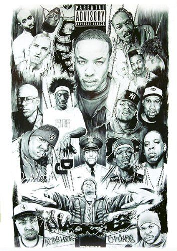 gangster rap poster grafitti artwork print big dr dre cube eazy biggie pun snoop