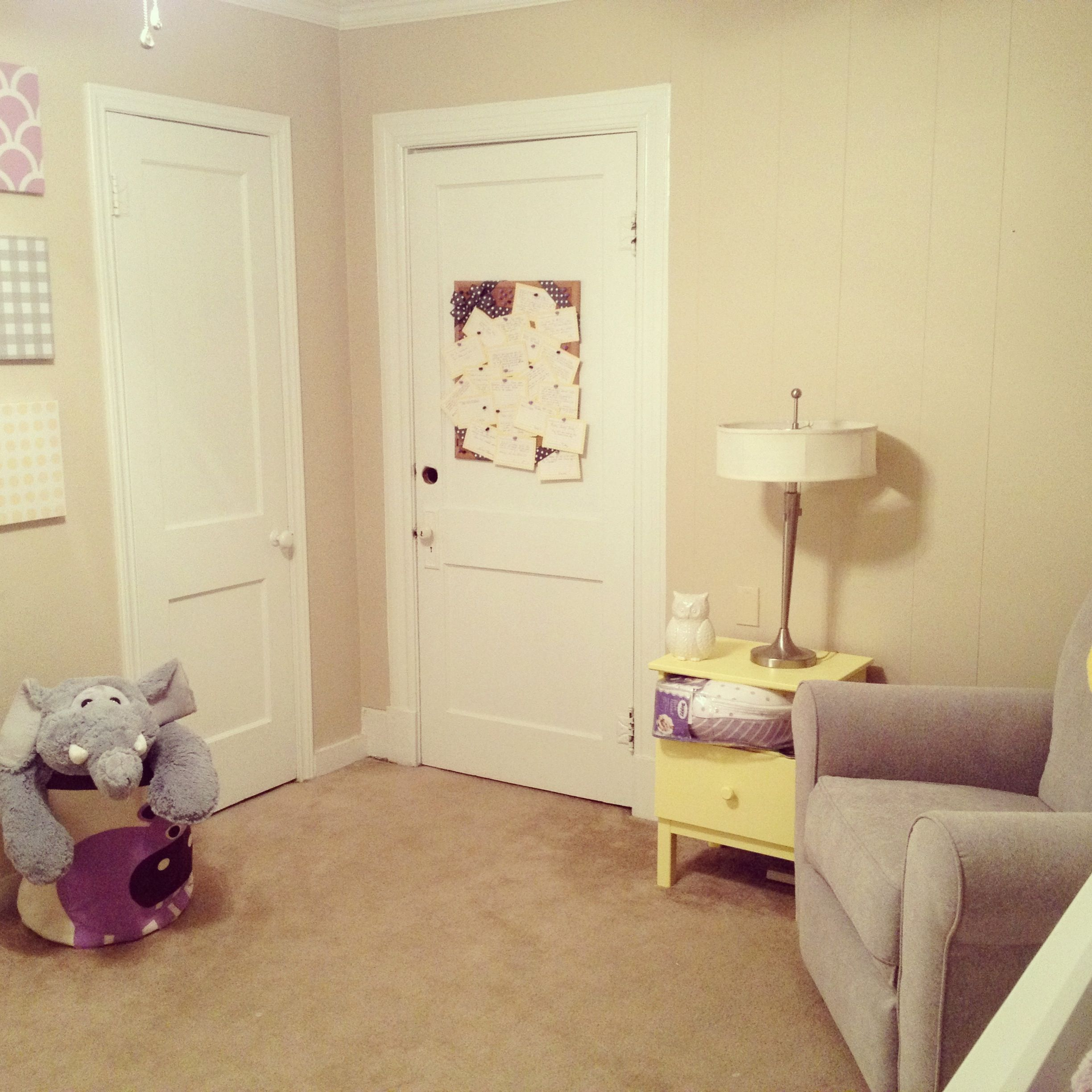 Purple and yellow and grey nursery Wall pictures - target Toy bin ...