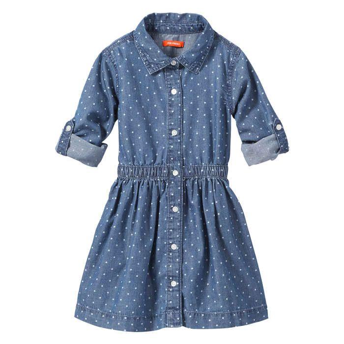 8cade9fcab Toddler Girls  Polka Dot Denim Dress in Medium Wash from Joe Fresh ...