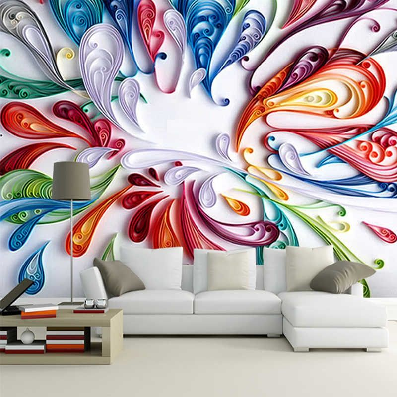 Custom 3d Mural Wallpaper For Wall Modern Art Creative Colorful Floral Abstract Line Painting Wall Paper For Living Room Bedroom Custom 3d Mural Wallpaper Mural Mural Wallpaper Mural Stencil Wall Painting
