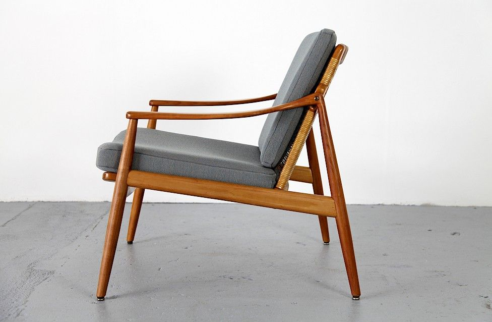Mid Century Modern Cheery Wood Easy Chair Sessel by