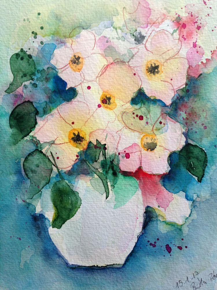 Aquarell Blumenstrauss Blumen 17 X 24 Cm Unikat In