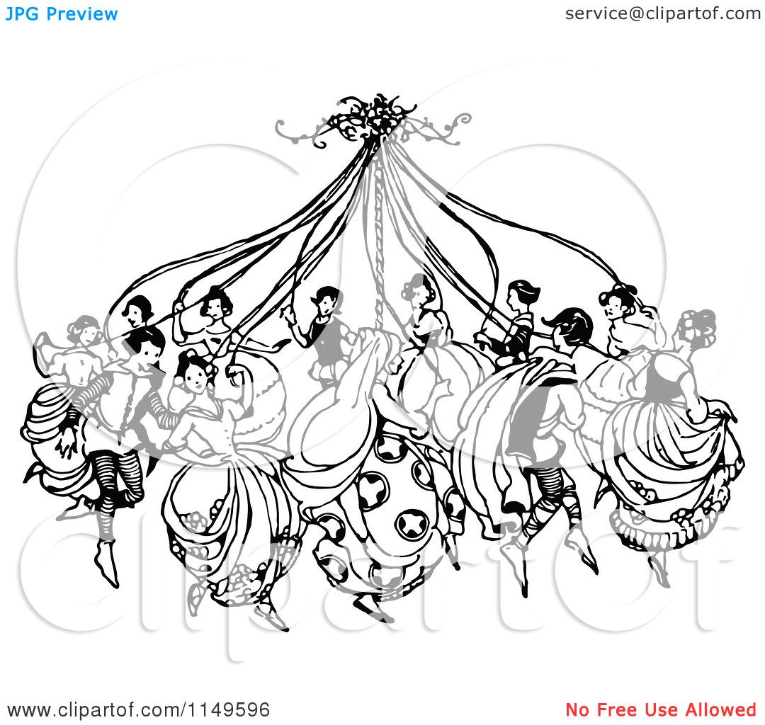 Clipart Of Retro Vintage Black And White People Dancing