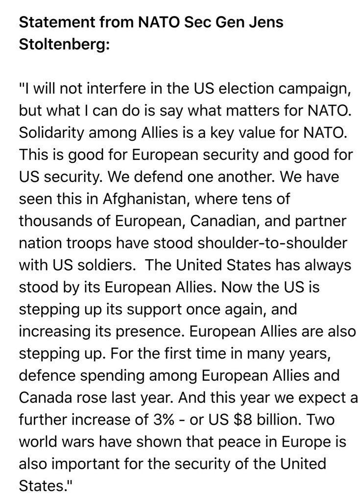 The Secretary General of *NATO* just had to reassure the world that Trump is spewing Crazy Talk.