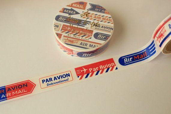 Japanese cute washi masking tape airmail 15mm by dailyzakkapress