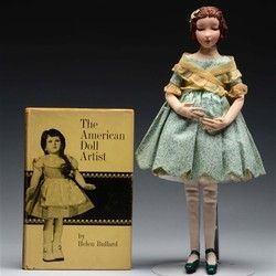 "Dorothy Heizer was a professional artist who attended the Penna Academy of Fine Arts, where she studied portraiture and sculpture. She was drawn to the creation of dolls, and completed her first historical portrait doll in 1924. These became her forte, though she did create a few contemporary dolls, like the one in this auction. Her basic materials were cloth, wire, and paint. She built the doll form of cloth over a wire armature, then covered it with a crepe cloth ""skin."" Her work is known…"