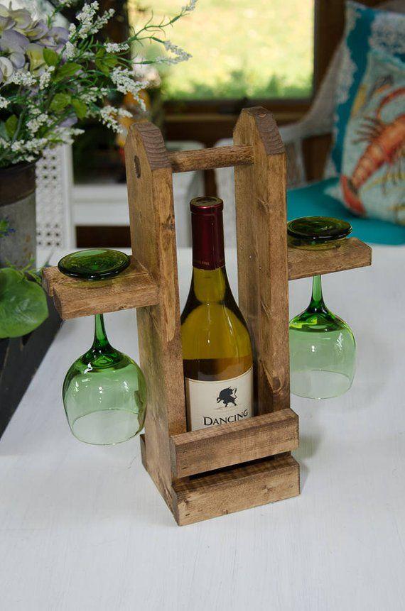 Photo of Carrello da vino in legno, portabottiglie, borsa da vino, rusic, regalo di nozze, riscaldamento domestico, scegli il tuo colore