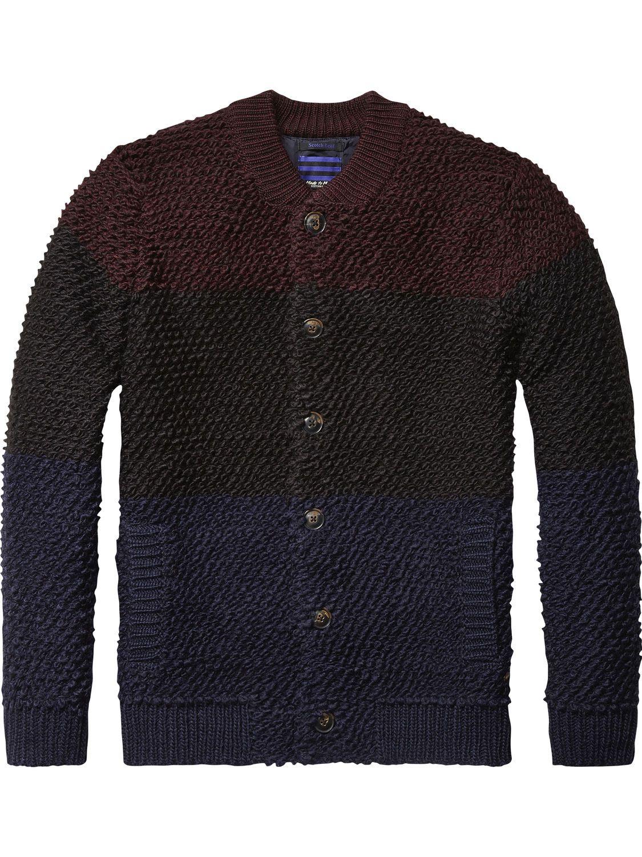 Bouclé-Cardigan in Bomber-Optik | Pullover | Herrenbekleidung von Scotch &  Soda