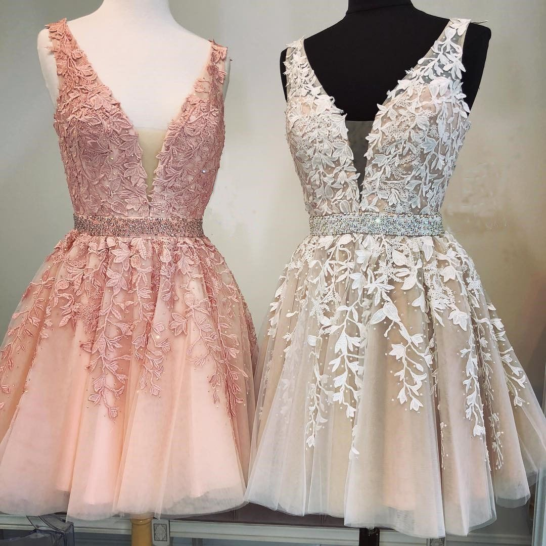 Short V-neck Tulle Prom Homecoming Dresses Lace Embroidery