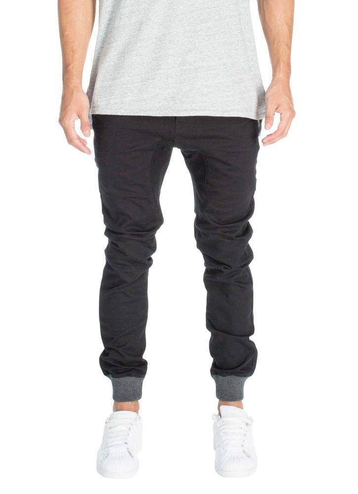 ZANEROBE NEW Men's Designer Dynamo Black Grey Cuff Chinos Jogger Pants Bottoms #Zanerobe #JoggerPants