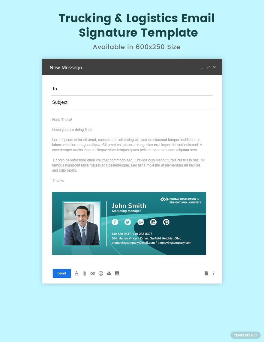 Trucking Logistics Email Signature Template Psd Html5 Email Signature Templates Email Signatures Email Templates