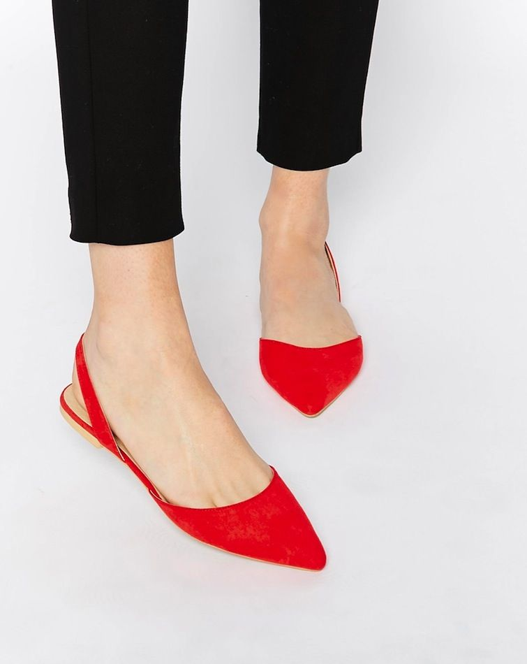 Under  25  Classic Red Slingback Flats (Le Fashion)
