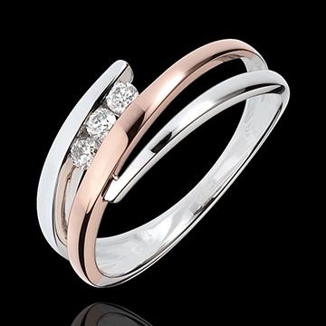 Bague de fiançailles Nid Précieux – Trio de diamants – 3 diamants – or blanc et or rose 18 carats