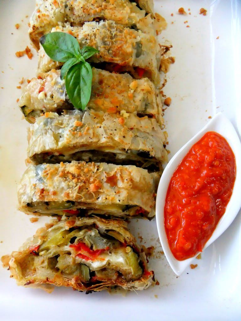 Roasted Vegetable Strudel With Roasted Red Pepper Coulis