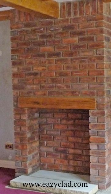 Eazyclad Thin Brick Slips Used To Create A Fire Place And