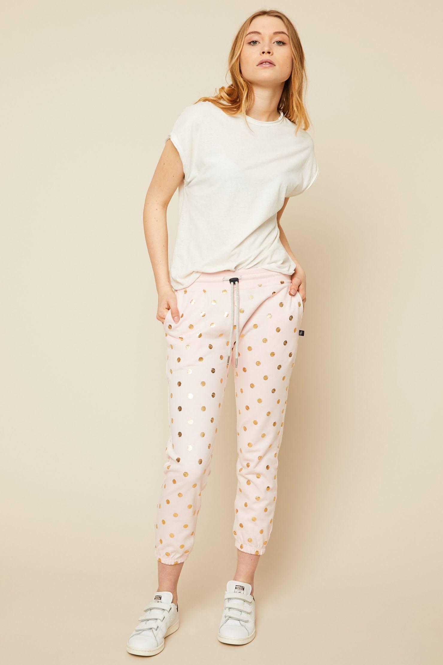 8d46f3553f374 Sweet Pants Jogging imprimé pois doré rose - Monshowroom