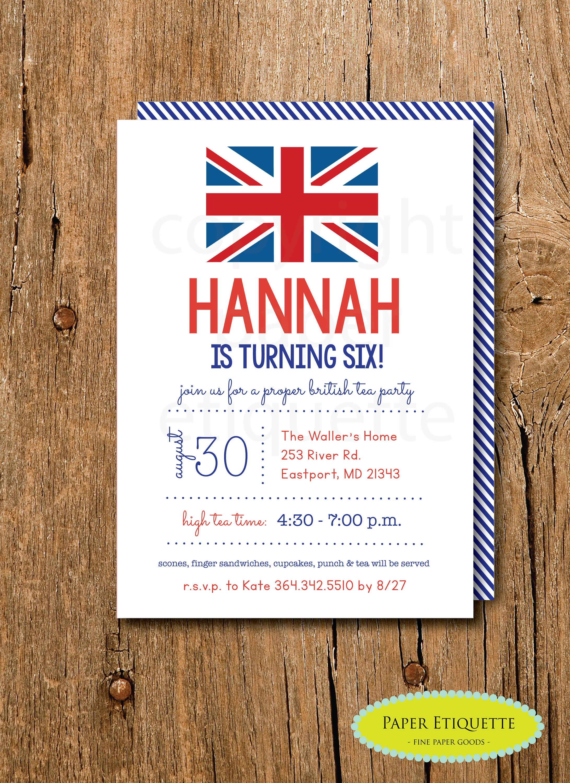Union Jack Party Invitations British London Birthday Tea Invite PartyBritish Baby Shower Flag Invitation By