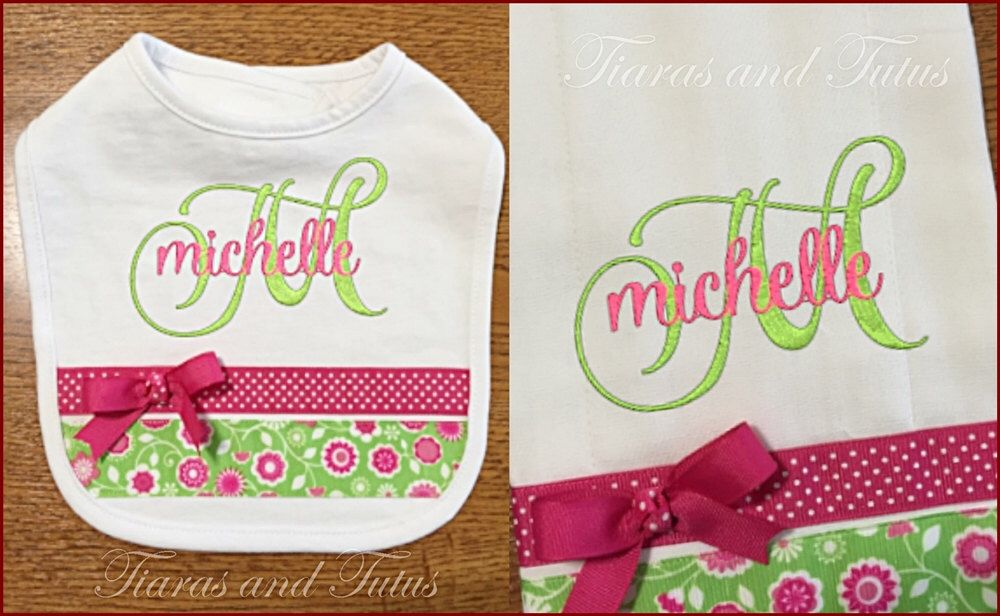 Personalized baby gifts burp cloth and bib set monogrammed burp personalized baby gifts burp cloth and bib set monogrammed burp and bib pink negle Images