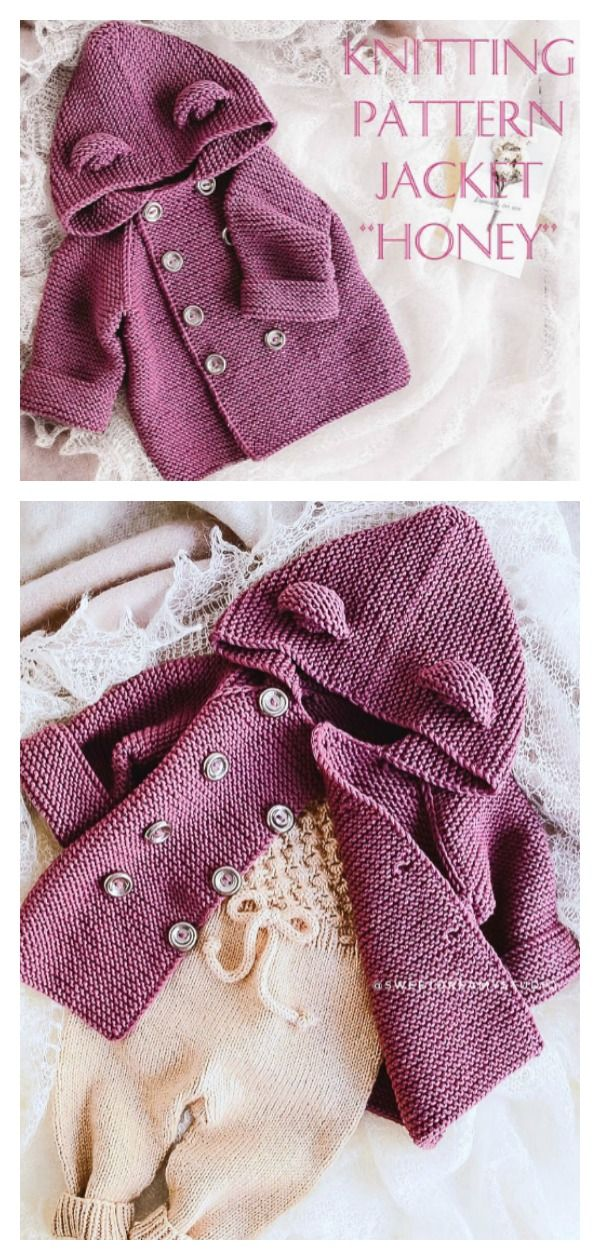 Garter Stitch Hooded Baby Jacket Free Knitting Pattern and Paid