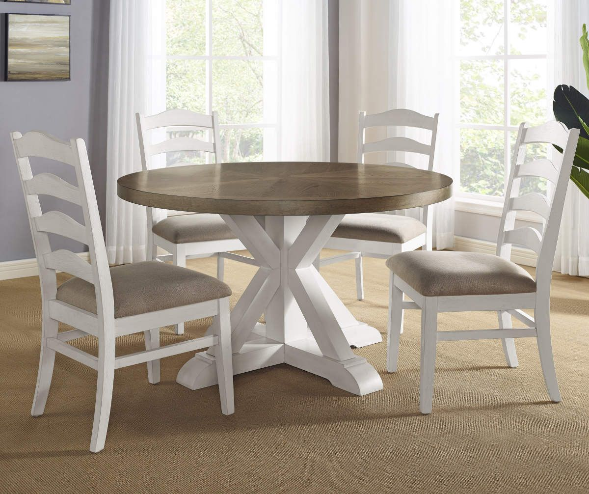 Jaxon 5 Piece Extension Round Dining Set With Wood Chairs Modern Farmhouse Dining Farmhouse Dining Set Dining Room Small