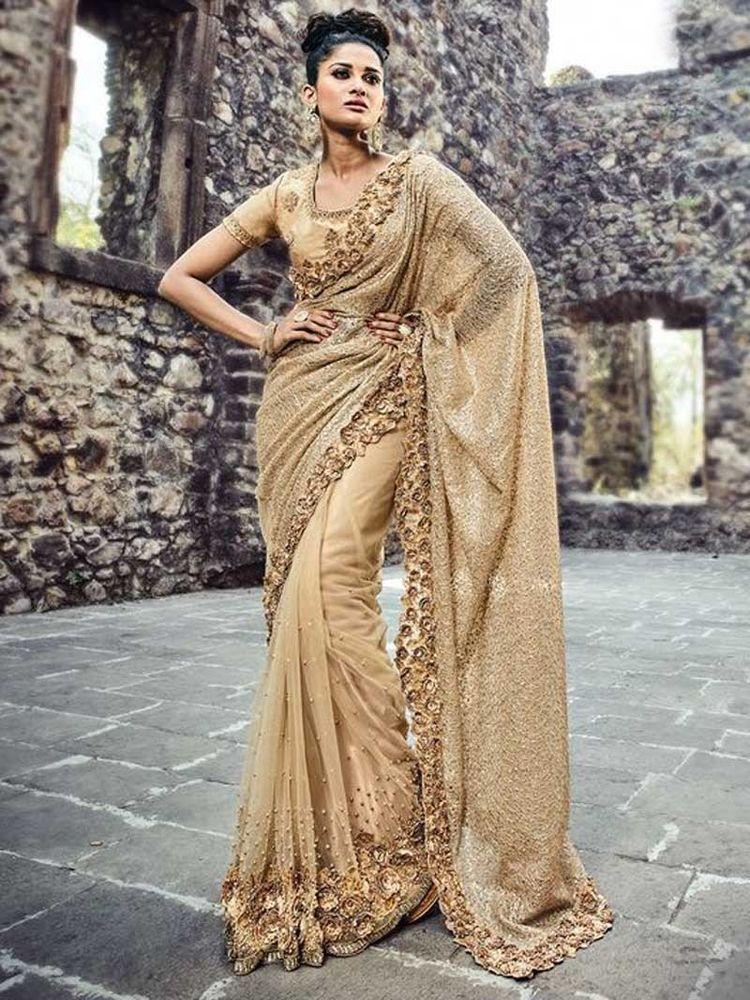 Saree Indian Sari Net Heavy Wedding Ethnic Women Fancy S Wear Party Fashionable