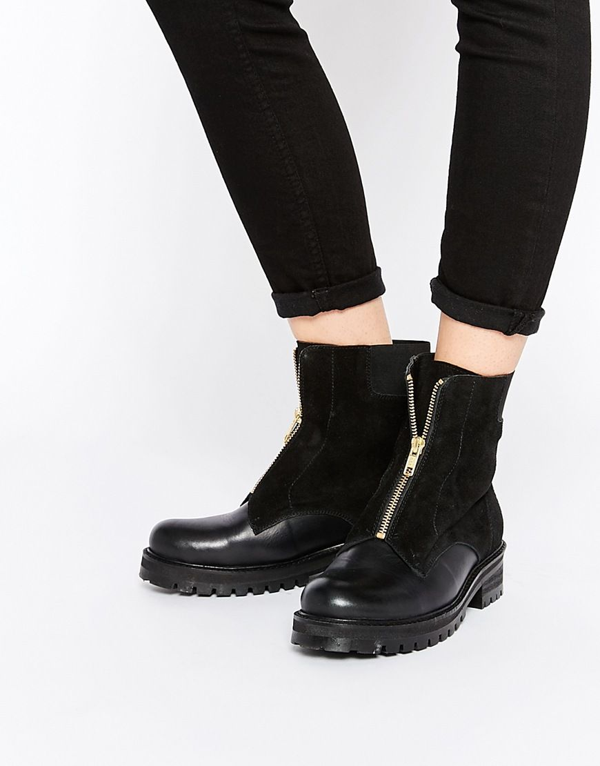 Park Lane Chunky Zip Front Leather Ankle Boots   Foot Fetish   Boots ... f3a3576fe9