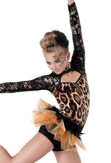 Weissman Leopard Print Feather Tulle Bustle Dance Costumes Costume Animal
