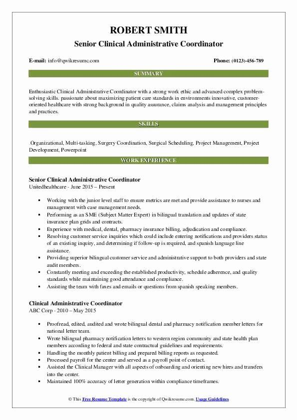 Patient Care Coordinator Job Description Resume Elegant Clinical Administrative Coordinator Resume Job Resume Samples Security Resume Patient Care Coordinator