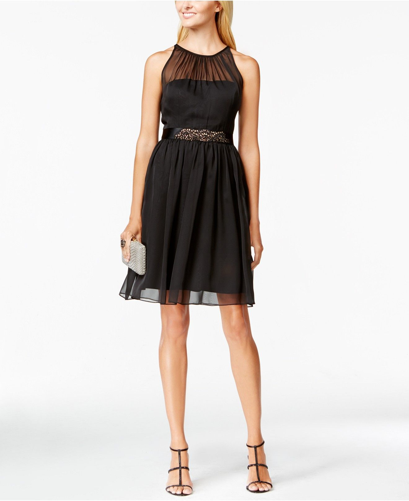 Belted chiffon halter dress pinterest adrianna papell dresses