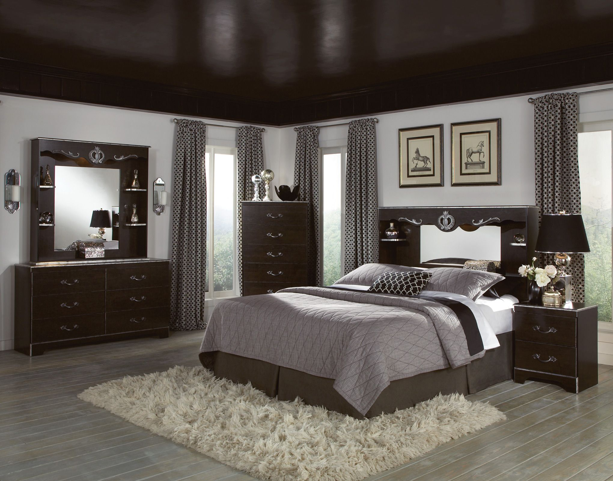 Pin By Mayo On Home Decor Gray Master Bedroom Dark Brown Furniture Dark Bedroom Furniture