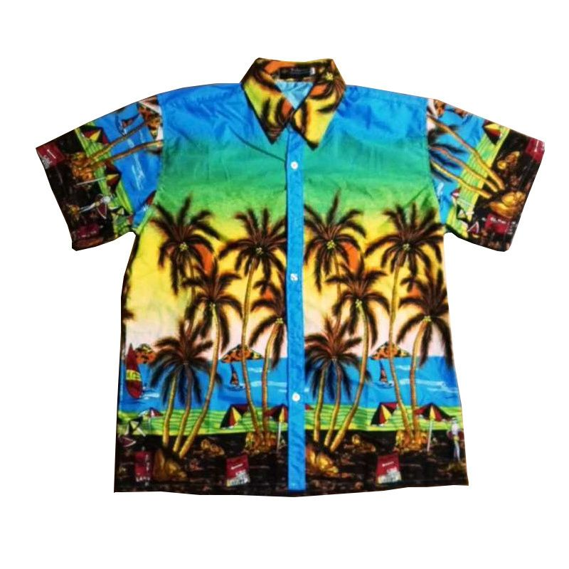 62e0ac84561 LEQEMAO Hawaiian Boys Shirts Casual Summer Turn-Down Collar Short Sleeve  Coconut tree Flowers Print Vacation Beach Wear