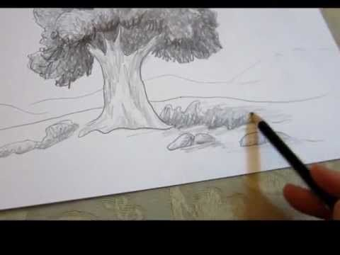 How To Draw A Tree In Landscape Drawing Techniques Landscape Drawings Landscape Art Lessons Drawing Techniques