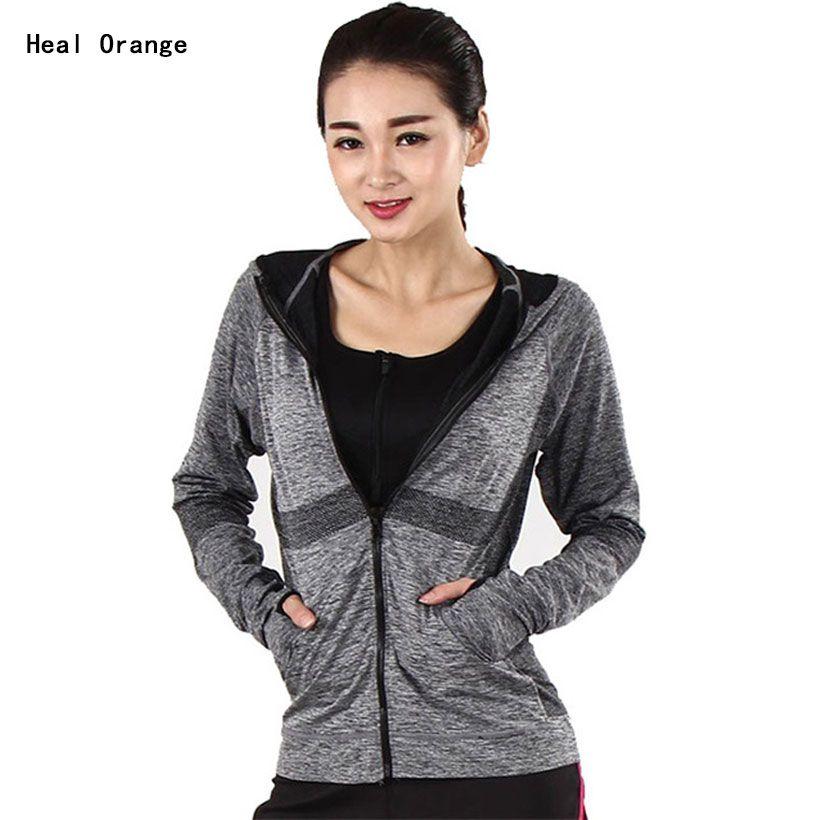 Heal Orange Running Jacket For Women Yoga Zipper Long Sleeve Women ...