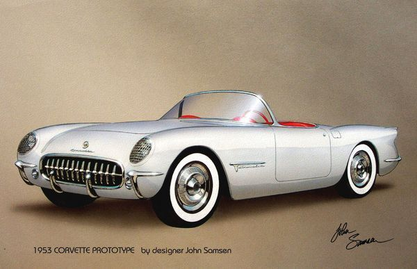 "1953s: ""1953 Corvette Classic Vintage Sports Car Automotive Art Painting by Jo…"