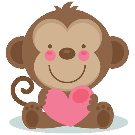 daily freebie 2 cute valentine monkey miss kate cuttables rh pinterest com cute valentine's day clipart