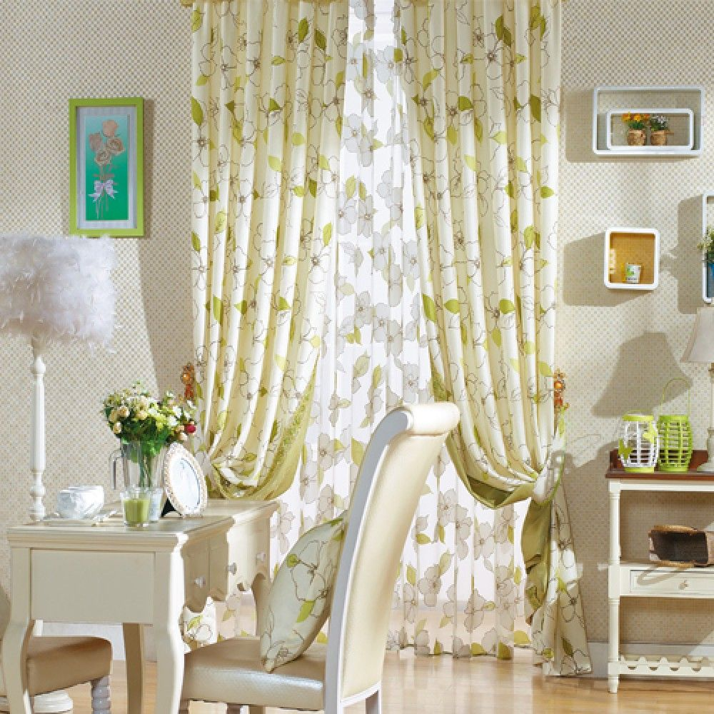 Small Mobile Homeinterior Design: Floral Country Green Curtains - Curtains